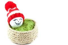 Oeufs de pâques dans un panier Émoticônes dans des chapeaux tricotés avec des pom-poms Image stock