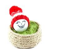 Oeufs de pâques dans un panier Émoticônes dans des chapeaux tricotés avec des pom-poms Photo libre de droits