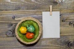 Oeufs de pâques dans un panier Oeufs de caille peints Photo libre de droits