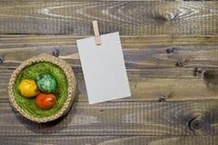 Oeufs de pâques dans un panier Oeufs de caille peints Images stock