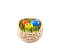 Oeufs de pâques dans un panier Oeufs de caille peints Panier tricoté de ju Images libres de droits