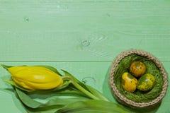 Oeufs de pâques dans un panier Oeufs de caille peints Un bouquet de jaune Images stock