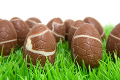 Oeufs de pâques de chocolat dans l'herbe Image libre de droits