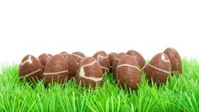 Oeufs de pâques de chocolat dans l'herbe Photographie stock libre de droits