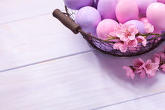 Oeufs de pâques et branche de floraison de pêche Images stock