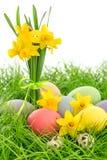 Oeufs de pâques et fleurs de jonquilles dans l'herbe Image stock