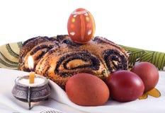 Oeufs de pâques et kulich Photos libres de droits