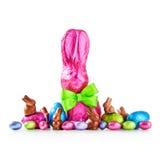 Oeufs de pâques et lapin de chocolat Photos libres de droits