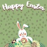 Oeufs de pâques et lapin de Pâques photo stock