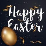Oeufs de pâques or et texte avec de l'or de confettis et le fre de couleurs foncées Image stock
