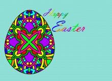 Oeufs de pâques heureux dessinant avec le fond de couleur et blanc illustration de vecteur