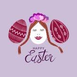 Oeufs de pâques mignons et décorés Photographie stock libre de droits