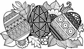 Oeufs de pâques noirs et blancs d'isolement sur le blanc Fond abstrait fait de fleurs et oeufs de pâques Photo libre de droits