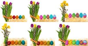 Oeufs de pâques peints à la main avec un bouquet des tulipes de fleurs, catki Photo libre de droits