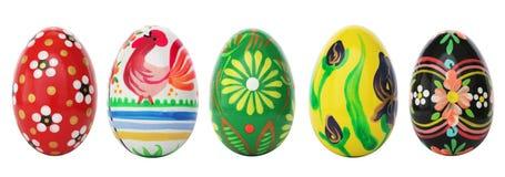 Oeufs de pâques peints à la main d'isolement sur le blanc Modèles de ressort Image libre de droits
