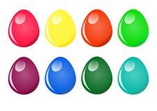 Oeufs de pâques peints dans différentes couleurs Image stock