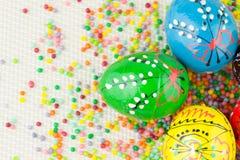 Oeufs de pâques peints faits main Photographie stock libre de droits