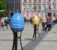 Oeufs de pâques peints par travail de l'auteur Images libres de droits