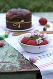 Oeufs de pâques rouges Photographie stock