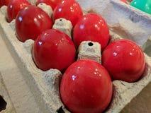 Oeufs de pâques teints frais dans rouge foncé pour le service orthodoxe de pascha Images libres de droits