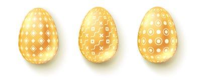 Oeufs de pâques tridimensionnels réalistes d'isolement sur le fond blanc Placez des icônes des oeufs d'or brillants avec le modèl illustration stock