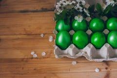 Oeufs de pâques verts dans le récipient de papier sur le fond en bois avec une branche des fleurs de cerisier Photos libres de droits