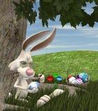 Oeufs de peinture de lapin de Pâques illustration stock