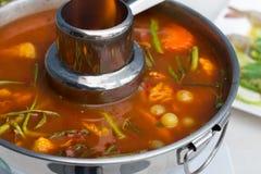 Oeufs de poisson de poisson-chat g?ant en soupe aigre ?pic?e images stock