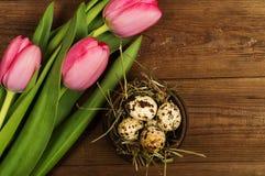 Oeufs de poulet et de caille avec des tulipes le fond a coloré le vecteur rouge de tulipe de format des oeufs de pâques eps8 Images stock