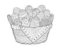 Oeufs de pâques dans le panier Photographie stock libre de droits
