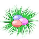 Oeufs de vecteur dans un nid Pâques Symbole chrétien Descripteur de Pâques Photo stock