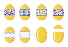 Oeufs en plastique de surprise pour les présents saisonniers de paquet et jouets, isolat sur le fond blanc illustration libre de droits