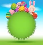 Oeufs et lapin colorés pour la carte de jour de salutation de Pâques illustration libre de droits