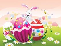 Oeufs et lapins de pâques   Photographie stock libre de droits