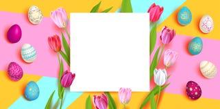 Oeufs et tulipes de pâques illustration de vecteur