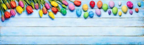 Oeufs et tulipes de pâques sur le bois bleu photos stock