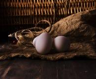 Oeufs frais de poulet sur une étagère en bois photos stock