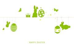 Oeufs heureux de silhouette de Pâques, lapin, vecteur de carte de voeux de poussin Photographie stock