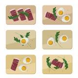 Oeufs, jambon et arugula servis Illustration de Vecteur