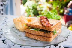 Oeufs, lards et sandwichs de soufflé en petit déjeuner américain sur W Image stock