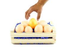 Oeufs pour Pâques dans une boîte en bois Photos libres de droits