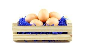 Oeufs pour Pâques dans une boîte en bois Photo stock