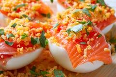 Oeufs remplis avec le tapa saumoné Espagne de pinchos Photo libre de droits