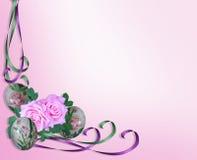 Oeufs, roses et bandes de pâques Image libre de droits