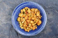 Oeufs salés sur le plat avec le tofu d'oeufs Images libres de droits