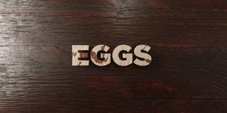 Oeufs - titre en bois sale sur l'érable - image courante gratuite de redevance rendue par 3D Photo libre de droits