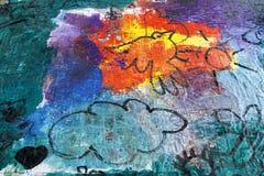 Oeuvre de l'art des enfants avec la peinture Photos stock