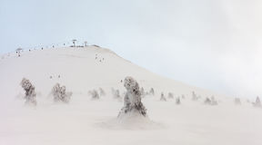 Oezbekistan, Chimgan-gebied, de lente van 2006 Bergen onder sneeuw in de winter Stock Afbeeldingen