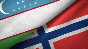 Oezbekistan en Noorwegen twee vlaggen textieldoek, stoffentextuur vector illustratie