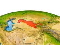Oezbekistan op model van Aarde Royalty-vrije Stock Foto's